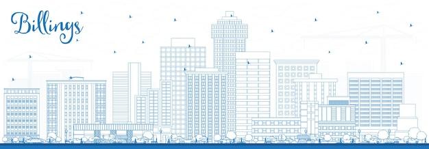 Наброски на фоне линии горизонта города биллингс монтана с голубыми зданиями. векторные иллюстрации. деловые поездки и концепция туризма с современной архитектурой. городской пейзаж сша биллингс с достопримечательностями.