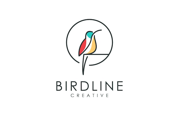 Outline bird logo, minimalist  illustration of animal with outline style