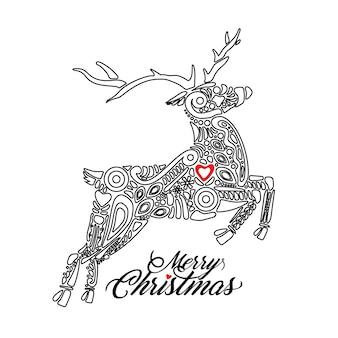 Наброски черный силуэт прыгающего леса или северного оленя на белом фоне и заполнены орнаментом со знаком с рождеством. идеально подходит для поздравительных открыток, баннеров, листовок