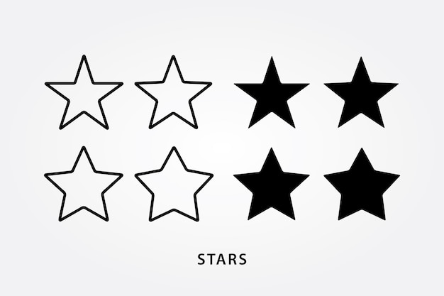 Outline and black stars icon set