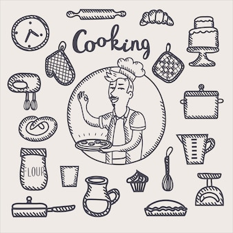 Outline black and white illustration of chef holding a plate of food in his hand and funny cooking tools and elements set
