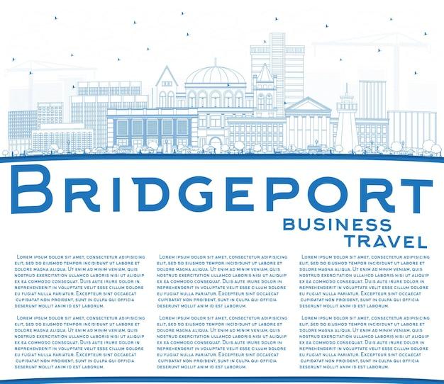 青い建物とコピースペース出張でブリッジポートコネチカット市のスカイラインの概要を説明します