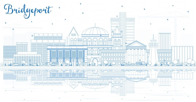 Outline bridgeport connecticut city skyline with blue buildings and reflections vector illustration