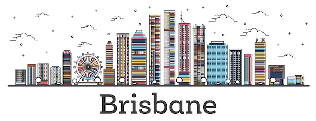 Outline brisbane australia city skyline with color buildings isolated on white