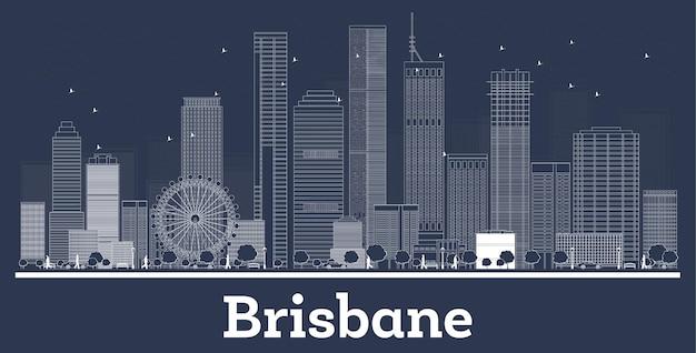 Outline brisbane australia city skyline with white buildings