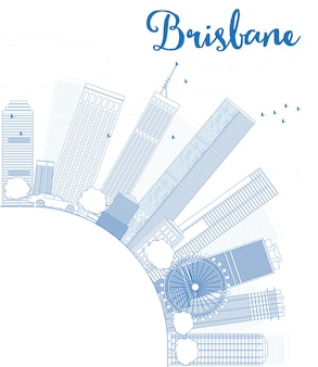Outline brisbane skyline with blue building and copy space