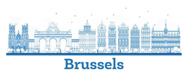 파란색 건물 개요 브뤼셀 벨기에 도시 스카이 라인. 벡터 일러스트 레이 션. 역사적인 건축과 비즈니스 여행 및 개념. 랜드마크가 있는 브뤼셀 풍경.
