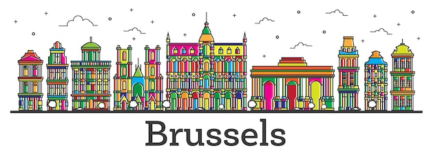 Outline brussels belgium city skyline with color buildings isolated on white. vector illustration. brussels cityscape with landmarks.