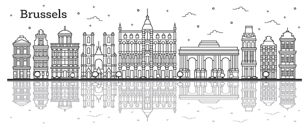 Outline brussels belgium city skyline with historic buildings and reflections isolated on white. vector illustration. brussels cityscape with landmarks.
