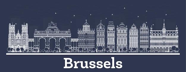 흰색 건물이 있는 브뤼셀 벨기에 도시 스카이라인 개요. 벡터 일러스트 레이 션. 역사적인 건축과 비즈니스 여행 및 개념. 랜드마크가 있는 브뤼셀 풍경.