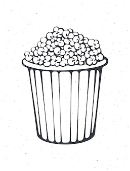 Outline of bucket full of popcorn striped paper cup with junk snack vector illustration