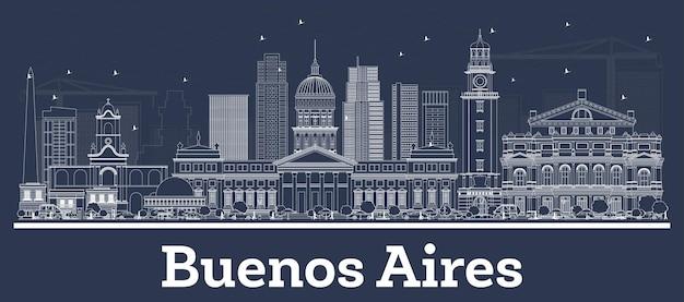 Наброски на фоне линии горизонта города буэнос-айрес, аргентина с белыми зданиями. векторные иллюстрации. деловые поездки и концепция туризма с исторической архитектурой. городской пейзаж буэнос-айреса с достопримечательностями.