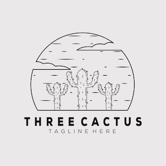 Outline cactus line art logo vector illustration design. three cactus linear symbol