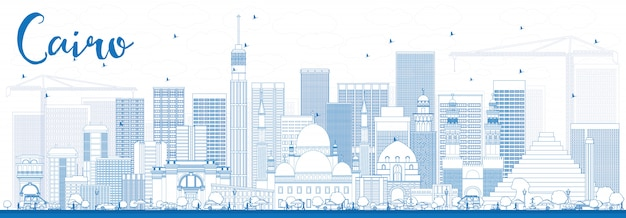Outline cairo skyline with blue buildings.