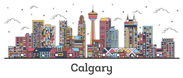 Наброски на фоне линии горизонта города калгари, канада с цветными зданиями, изолированными на белом. векторные иллюстрации. городской пейзаж калгари с достопримечательностями.