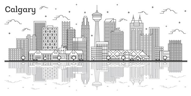 Наброски на фоне линии горизонта города калгари, канада с современными зданиями и размышлениями, изолированными на белом. векторные иллюстрации. городской пейзаж калгари с достопримечательностями.