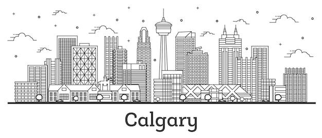 Наброски на фоне линии горизонта города калгари, канада с современными зданиями, изолированными на белом. векторные иллюстрации. городской пейзаж калгари с достопримечательностями.