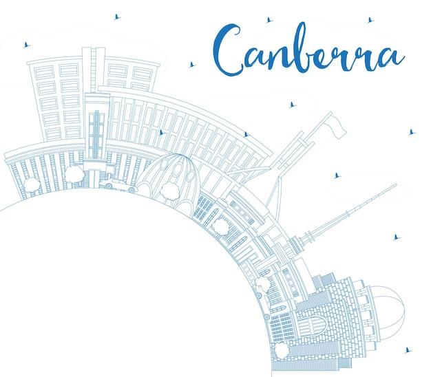 파란색 건물 및 복사 공간이 있는 캔버라 호주 도시 스카이라인 개요. 벡터 일러스트 레이 션. 현대 건축과 비즈니스 여행 및 관광 개념입니다. 랜드마크가 있는 캔버라 도시 풍경.