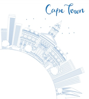 Outline cape town skyline with blue buildings and copy space.