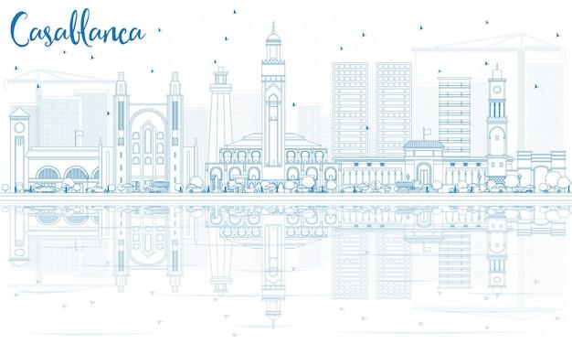 青い建物と反射でカサブランカのスカイラインの概要を説明します。ベクトルイラスト。歴史的な建築とビジネス旅行と観光の概念。プレゼンテーションバナープラカードとwebサイトの画像。