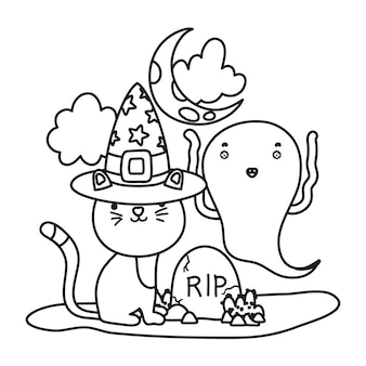 Outline cat with hat and funny ghost with rip