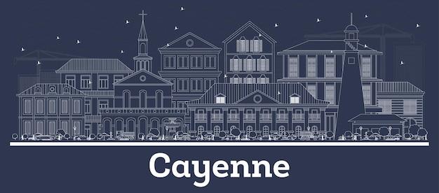 Наброски на фоне линии горизонта города кайенна французской гвианы с белыми зданиями. векторные иллюстрации. деловые поездки и концепция с исторической архитектурой. кайенский городской пейзаж с достопримечательностями.