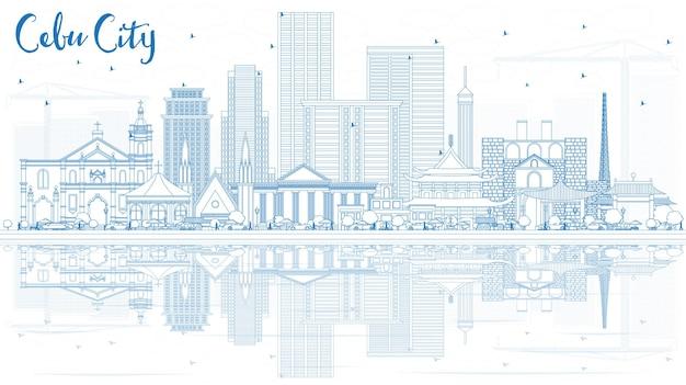 青い建物と反射でセブ市フィリピンのスカイラインの概要を説明します。ベクトルイラスト。近代建築と出張と観光のイラスト。ランドマークのあるセブ市の街並み。