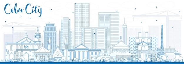 青い建物とセブ市フィリピンのスカイラインの概要を説明します。ベクトルイラスト。近代建築と出張と観光のイラスト。