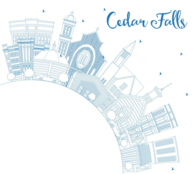 Outline cedar falls iowa skyline with blue buildings and copy space. vector illustration. business travel and tourism illustration with historic architecture. cedar falls cityscape with landmarks.