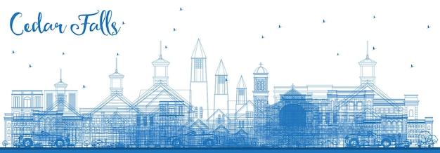 파란색 건물이 있는 시더 폴스 아이오와 스카이라인 개요. 벡터 일러스트 레이 션. 역사적인 건축과 비즈니스 여행 및 관광 그림입니다.