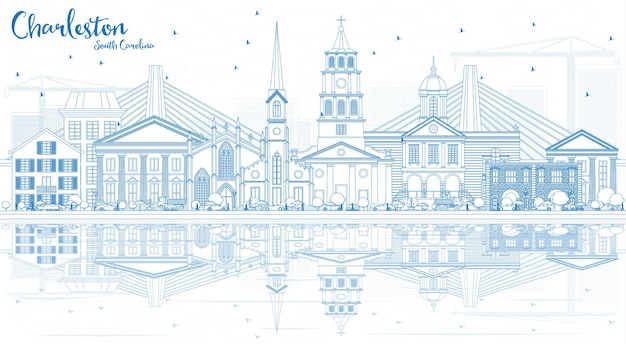Outline charleston south carolina skyline with blue buildings and reflections. vector illustration. business travel and tourism illustration with historic architecture.