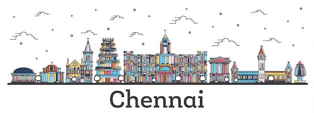 흰색 절연 색상 건물과 첸나이 인도 도시의 스카이 라인을 설명합니다. 벡터 일러스트 레이 션. 랜드마크가 있는 첸나이 도시 풍경.