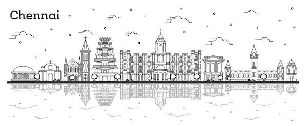 역사적인 건물과 반사 화이트 절연 첸나이 인도 도시의 스카이 라인 개요. 벡터 일러스트 레이 션. 랜드마크가 있는 첸나이 도시 풍경.