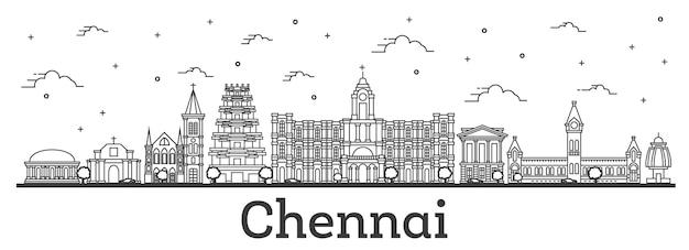 흰색 절연 역사적인 건물과 첸나이 인도 도시의 스카이 라인을 설명합니다. 벡터 일러스트 레이 션. 랜드마크가 있는 첸나이 도시 풍경.