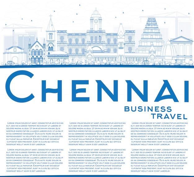 Outline chennai skyline with blue landmarks and copy space.