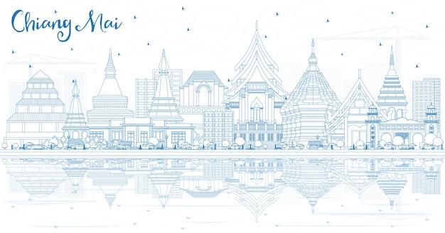 青い建物と反射でチェンマイタイの街のスカイラインの概要を説明します。ベクトルイラスト。近代建築とビジネス旅行と観光の概念。ランドマークのあるチェンマイの街並み。