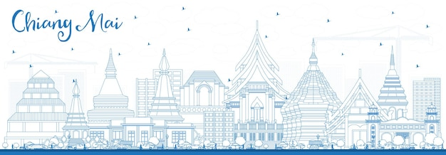 青い建物でチェンマイタイの街のスカイラインの概要を説明します。ベクトルイラスト。近代建築とビジネス旅行と観光の概念。ランドマークのあるチェンマイの街並み。