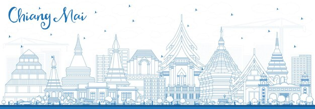 Outline chiang mai thailand city skyline with blue buildings. vector illustration. business travel and tourism concept with modern architecture. chiang mai cityscape with landmarks.