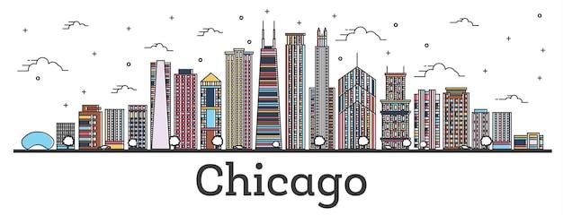 白で隔離された色の建物でシカゴイリノイ市のスカイラインの概要を説明します。ベクトルイラスト。ランドマークのあるシカゴの街並み。