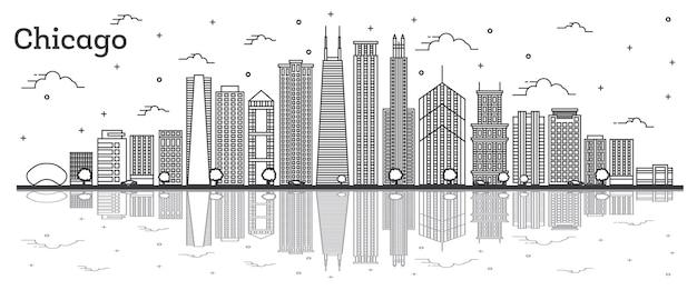モダンな建物と反射が白で隔離されたシカゴイリノイシティのスカイラインの概要を説明します。ベクトルイラスト。ランドマークのあるシカゴの街並み。