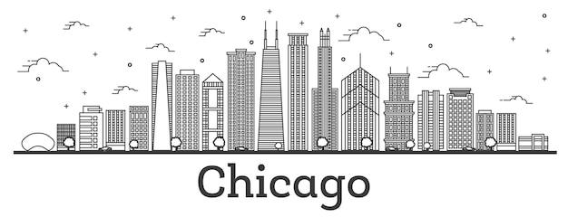 白で隔離された近代的な建物とシカゴイリノイ市のスカイラインの概要を説明します。ベクトルイラスト。ランドマークのあるシカゴの街並み。