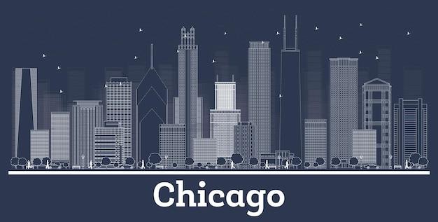 白い建物でシカゴイリノイ市のスカイラインの概要を説明します。ベクトルイラスト。歴史的な建築とビジネス旅行と観光の概念。ランドマークのあるシカゴの街並み。