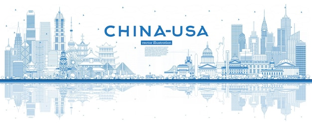 Outline china and usa skyline with blue buildings and reflections. famous landmarks. vector illustration. usa and china trade war concept.