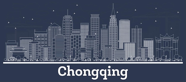 Outline chongqing china city skyline with white buildings. vector illustration. business travel and concept with modern architecture. chongqing cityscape with landmarks.