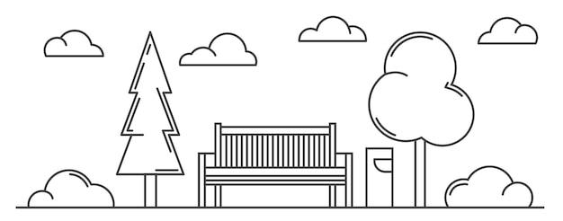 都市公園、ベンチ、ライト、木々の概要を説明します。風景スケッチ。水平線画イラスト。