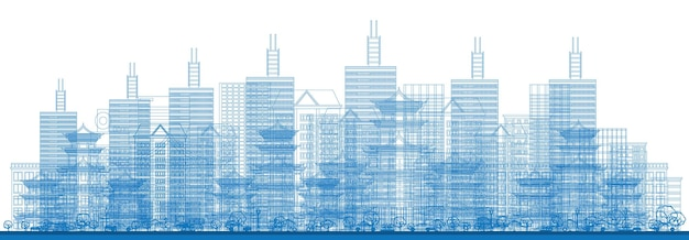 Outline city skyscrapers in blue color. vector illustration. business travel and tourism concept. image for presentation, banner, placard and web site. cityscape with skyscrapers.