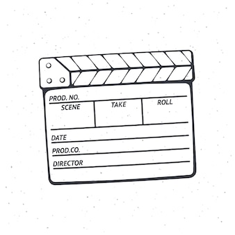 Outline of closed clapperboard used in cinema when shooting a film vector illustration