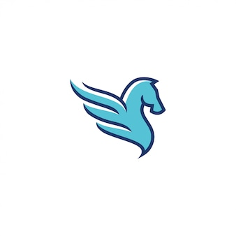 Outline and color fill pegasus logo
