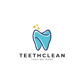 Outline and color fill teeth dental clean logo