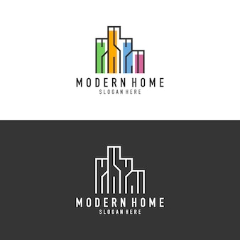 Outline of a colorful building logo